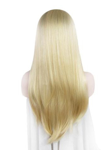 Long Black Root To Blonde #613 Ombre Straight Lace Front Wig - FashionLoveHunter