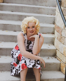 Marilyn Natural Blonde Bouncy Curly Synthetic Glueless Lace Front Wigs - Imstylewigs