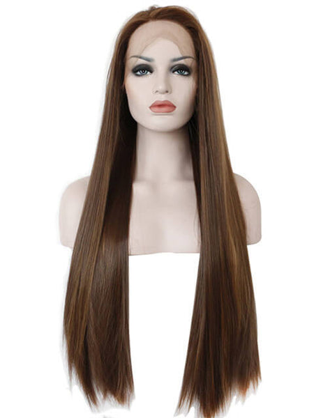 Long Brown Chocolate Ombre Straight Synthetic Lace Front Wig