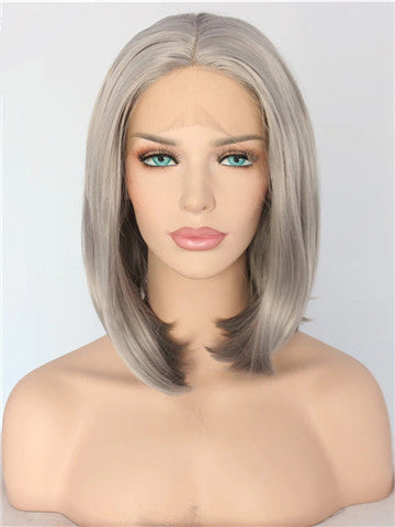 Dark Ash Dim Gray Straight Synthetic Lace Front Wig
