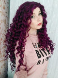 Dark Purple Curly Long Synthetic Lace Front Wig - FashionLoveHunter