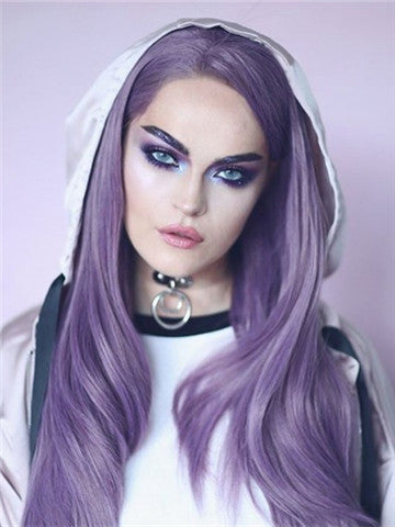 Long Lilac Purple Wave Synthetic Lace Front Wig - FashionLoveHunter
