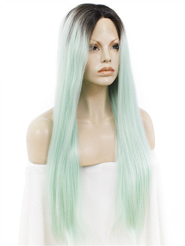 Dark Root To More Light Mint Green Ombre Straight Long Synthetic Lace Front Wig - FashionLoveHunter