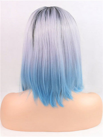 Dark To Light Ombre Periwinkle Pastel Blue Synthetic Lace Front Wig - FashionLoveHunter