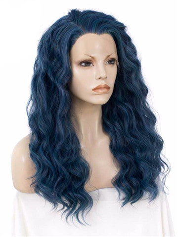 Long Lake Blue Wave Synthetic Lace Front Wig - FashionLoveHunter