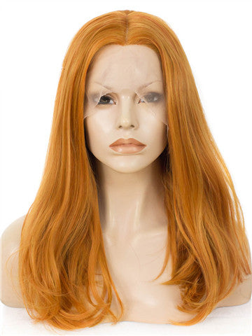 Ginger Orange Shoulder Length 17 Inch Straight Bob Synthetic Lace Front Wig - FashionLoveHunter