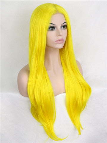 Glowstix Bright Yellow Long Straight Synthetic Lace Front Wig - FashionLoveHunter