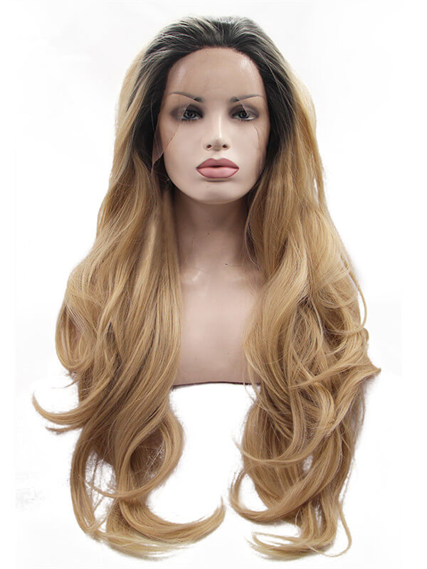 Long Dark Gold Ombre Wave Synthetic Lace Front Wig