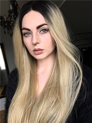 Gold Blonde Ombre Long Wave Synthetic Lace Front Wig - FashionLoveHunter