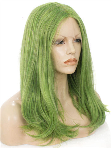 Grass Green Shoulder Length 17 Inch Straight Synthetic Lace Front Wig - FashionLoveHunter
