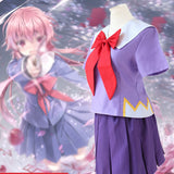 Future Diary Gasai Yuno Mirai Nikki Purple School Uniform Women Female Lady Cosplay Costume Suit Wig Christmas Xmas Party