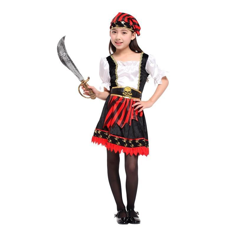 Girls Halloween Pirate Costume Kids Corsair Cosplay Sailor Role Play Carnival Stage Performance Party Dress