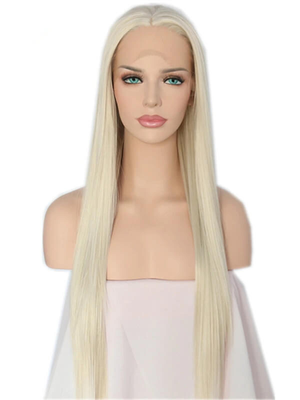 Long #613 Platinum Blonde Straight Synthetic Lace Front Wig