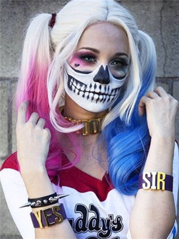 Harley Quinn Inspired Half Pink & Half Blue Synthetic Lace Front Wig - FashionLoveHunter