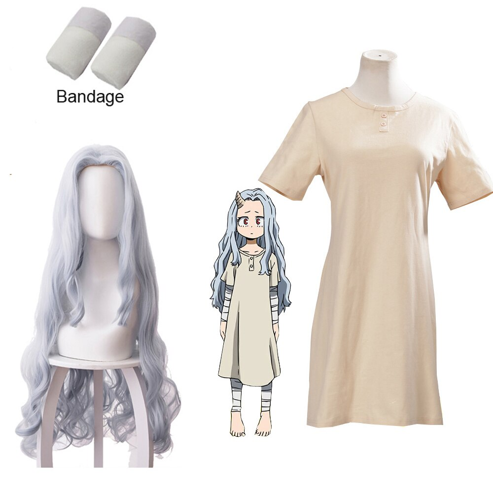 Women Lady My Hero Academia Cosplay Boku no Hero Academia Eri Wig Costume Summer Long Tshirt Solid Short Sleeve Dress bandage