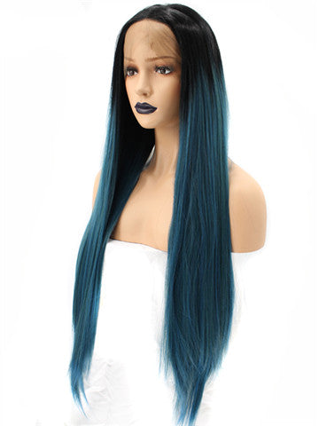 Long Black To Dark Green Ombre Synthetic Lace Front Wig - FashionLoveHunter