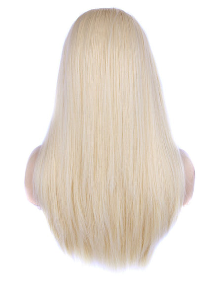 Long Blonde Silk Layered Straight Glueless Synthetic Lace Front Wigs - Imstylewigs