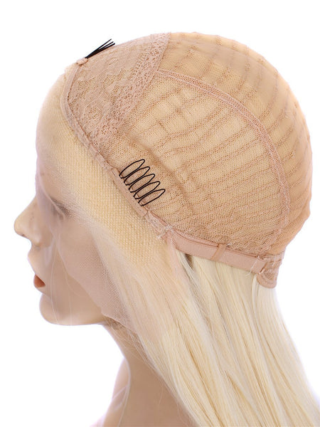 Blonde Silk Layered Straight Glueless Lace Front Wigs - Imstylewigs