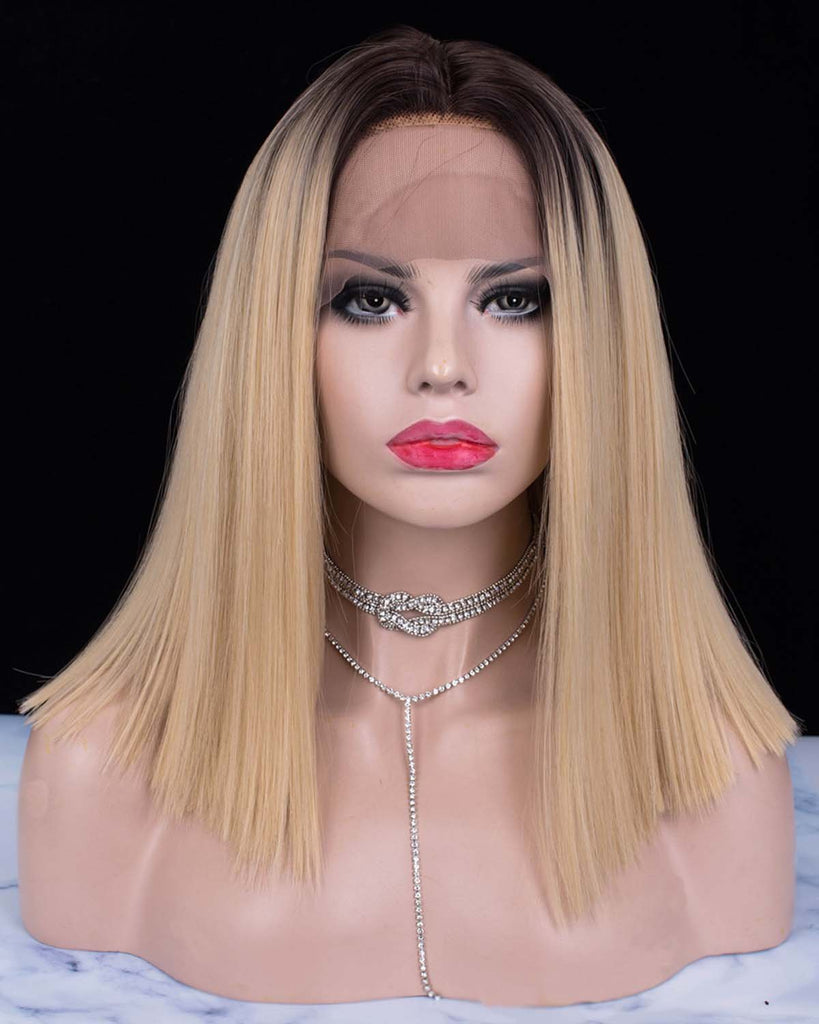 Dark Rooted Blonde Parting Synthetic Lace Front Wigs - Imstylewigs