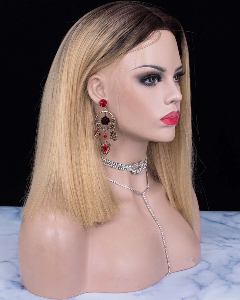 Straight Bob Dark Rooted Blonde Parting Synthetic Lace Front Wigs - Imstylewigs