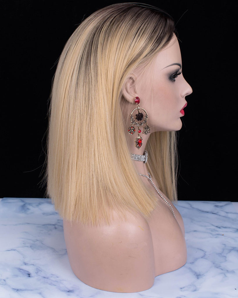 Straight Bob Dark Rooted Blonde Glueless Synthetic Lace Front Wigs - Imstylewigs