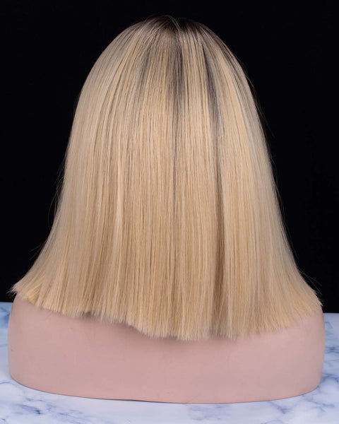 Short Straight Bob Dark Rooted Blonde Glueless Synthetic Lace Front Wigs - Imstylewigs