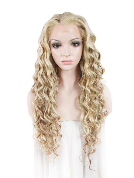 Blonde Mixed Brown Curly Synthetic Lace Front Wigs - Imstylewigs