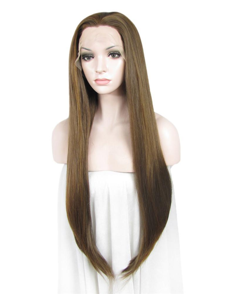 Honey Blonde Long Straight Synthetic Glueless Lace Front Wigs - Imstylewigs