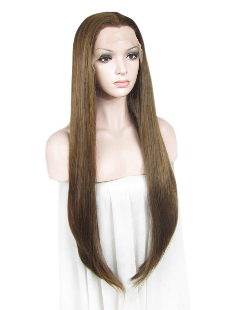 Honey Blonde Long Straight Glueless Lace Front Wigs - Imstylewigs