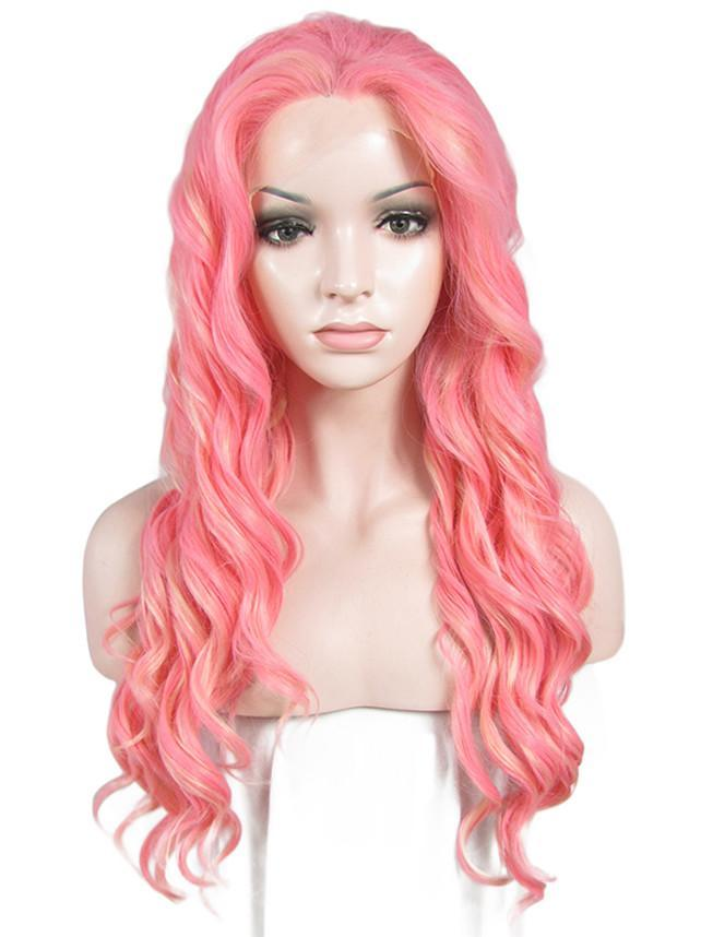 Rose Pink Long Wavy Glueless Lace Front Wigs - Imstylewigs