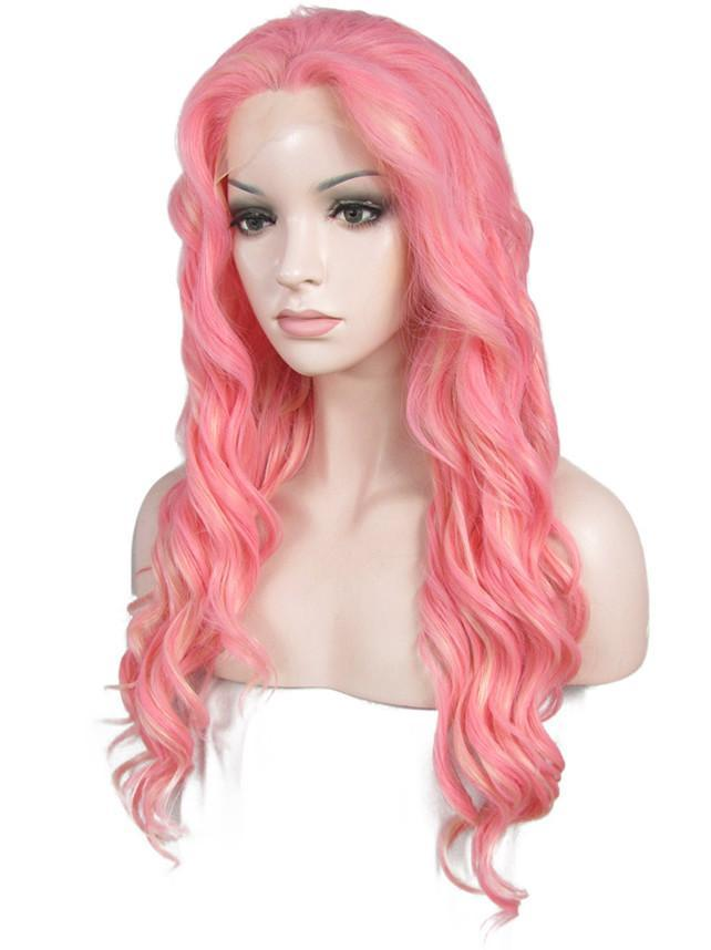 Rose Pink Synthetic Glueless Lace Front Wigs - Imstylewigs