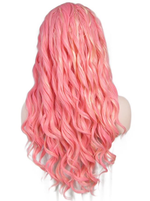 Rose Pink Long Wavy Synthetic Lace Front Wigs - Imstylewigs