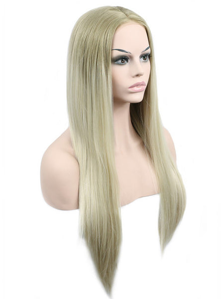 Blake Light Blonde Ombre Long Synthetic Lace Front Wig - FashionLoveHunter