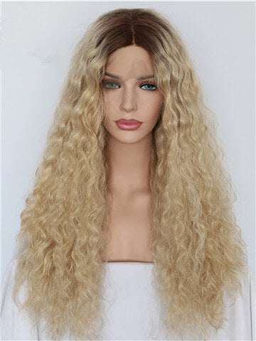 Long Kinky Curly Brown To Light Gold Ombre Synthetic Lace Front Wig