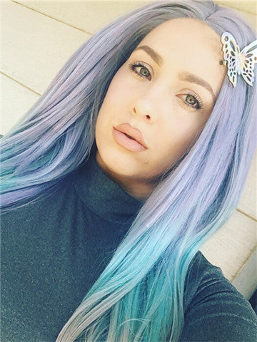 Lavender Green Mixed Long Wave Synthetic Lace Front Wig - FashionLoveHunter