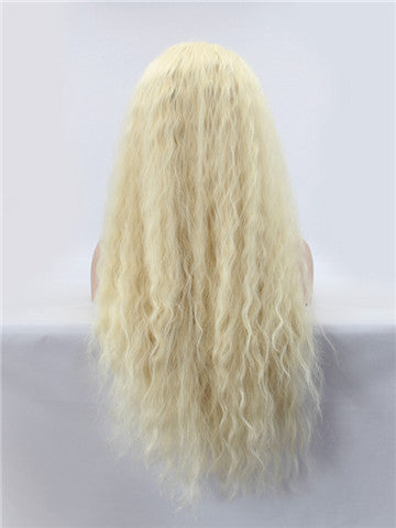 Long Bright Blonde Curly Synthetic Lace Front Wig - FashionLoveHunter