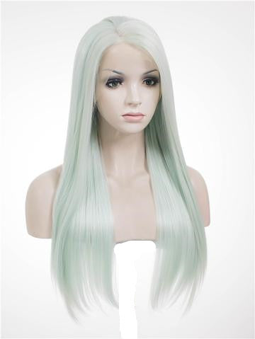 Light Mint Green Straight Long Synthetic Lace Front Wig - FashionLoveHunter