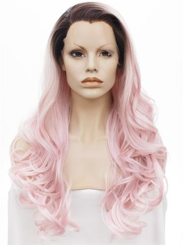 Light Warm Pink Ombre Big Wave Long Synthetic Lace Front Wig - FashionLoveHunter