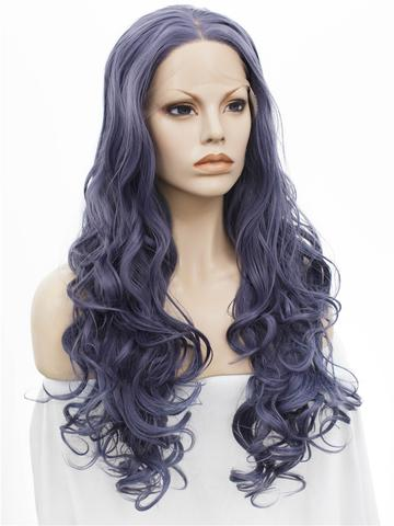 Lividity Grey Wave Long Synthetic Lace Front Wig - FashionLoveHunter