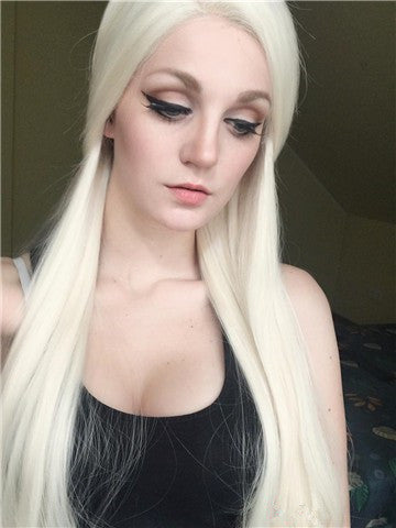 Long #613 Platinum Blonde Straight Synthetic Lace Front Wig - FashionLoveHunter