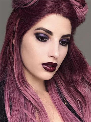 Long Ancient Pink Ombre Straight Synthetic Lace Front Wig - FashionLoveHunter
