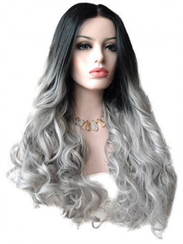 Long Angel Dust Grey Synthetic Lace Front Wig - FashionLoveHunter