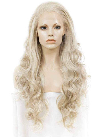 Long Ash Blonde Realistic Body Wave Synthetic Lace Front Wig