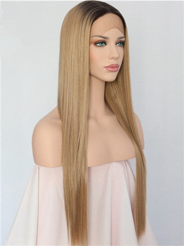 Long Ash Golden Blonde Ombre Synthetic Lace Front Wig - FashionLoveHunter