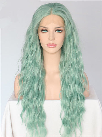 Long Ash Mint Green Curly Synthetic Lace Front Wig - FashionLoveHunter