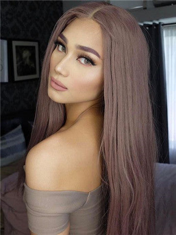Long Ash Pink Rosy Mist Synthetic Lace Front Wig - FashionLoveHunter