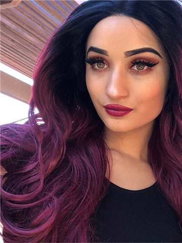 Long Auburn Diva Wine Red Ombre Wave Synthetic Lace Front Wig - FashionLoveHunter