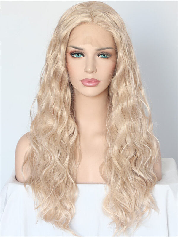 Long Beige Blonde Synthetic Lace Front Wig
