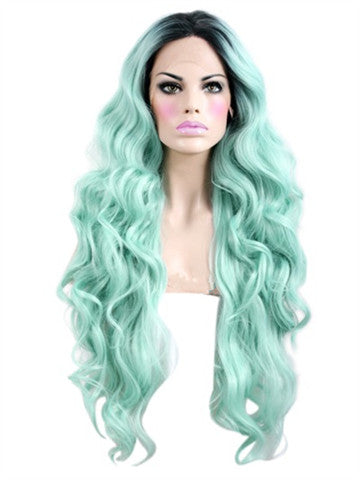 Long Big Wave Light Mint Green Synthetic Lace Front Wig - FashionLoveHunter