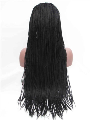 Long Black Braid Straight Synthetic Lace Front Wig - FashionLoveHunter